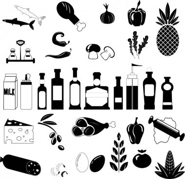 Food set of vector black icons on white background icon