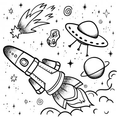 Hand drawn space banner template. Space Vector illustration with cartoon rocket, planets, stars. Universe for your design icon