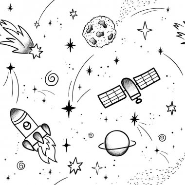 Hand drawn space banner template. Space doodle Vector illustration with cartoon rocket, planets, stars. Universe for your design icon