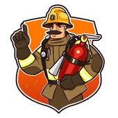 Hasič s hasicí přístroj