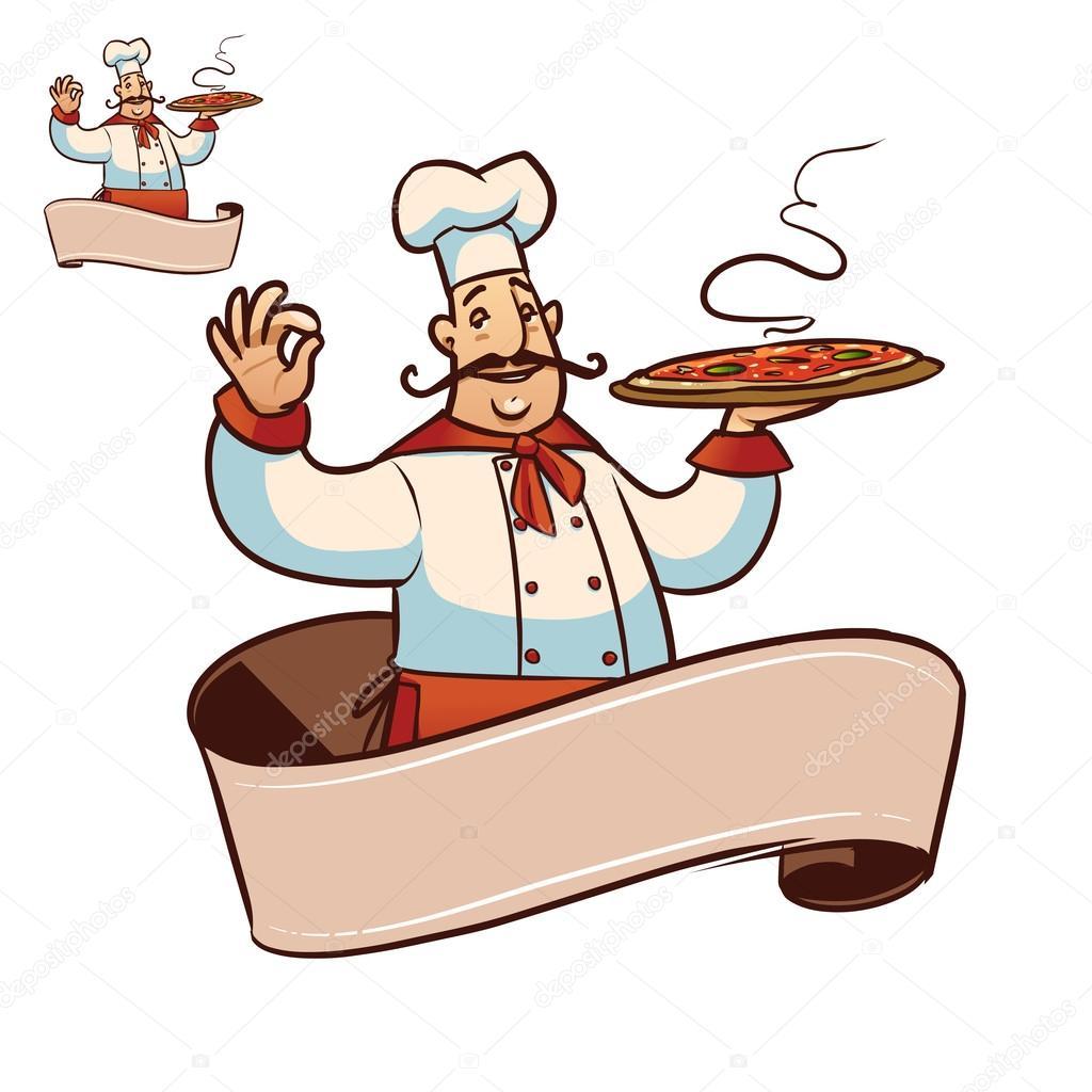 dessin anim happy cook avec grande pizza dans la main vecteur par natashin - Dessin Cuisinier