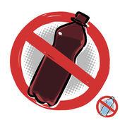 Plastová láhev není povolen znak