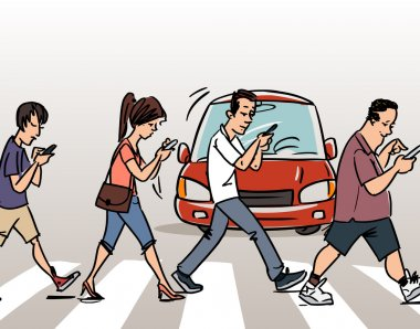 people with mobile phones on the Crosswalk
