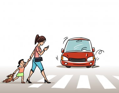 Woman with child on the Crosswalk, vector illustration stock vector