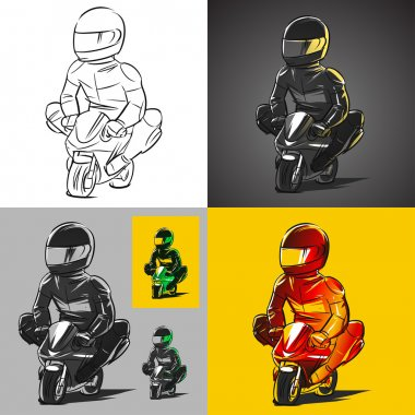 sketch icons of racer on a minibike