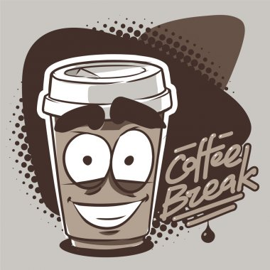 Smiling takeaway coffee cup character