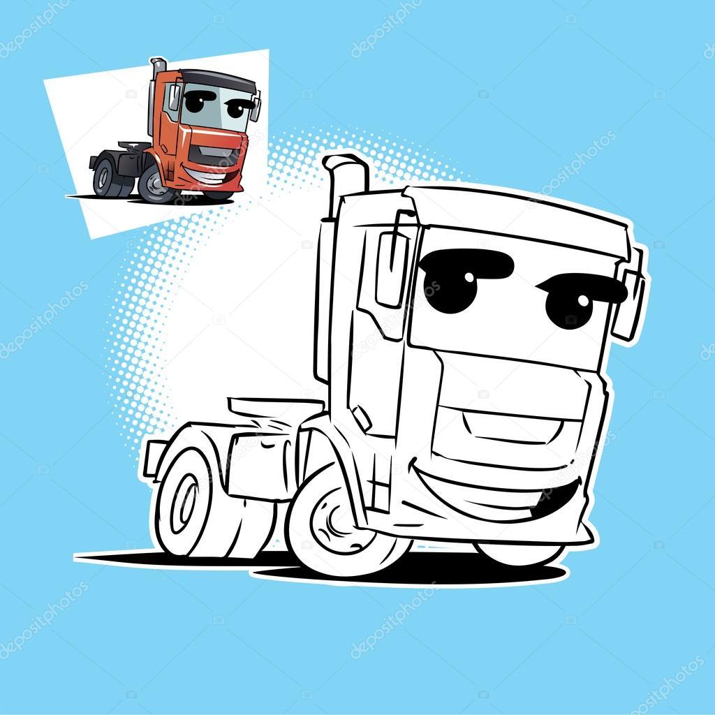 Libro de colorear de camión de remolque — Vector de stock © natashin ...