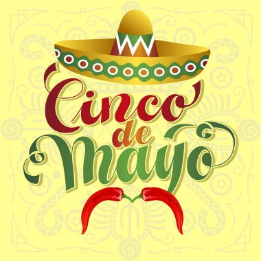 Cinco de Mayo Vector Illustration. Hand Lettered text with Chili clip art vector