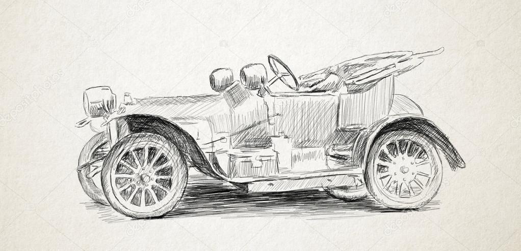 Alte Auto Bleistift Zeichnen Stockfoto Ermir 56499839