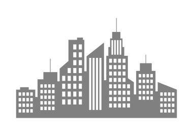 Grey city icon on white background