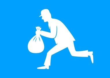 White thief icon on blue background