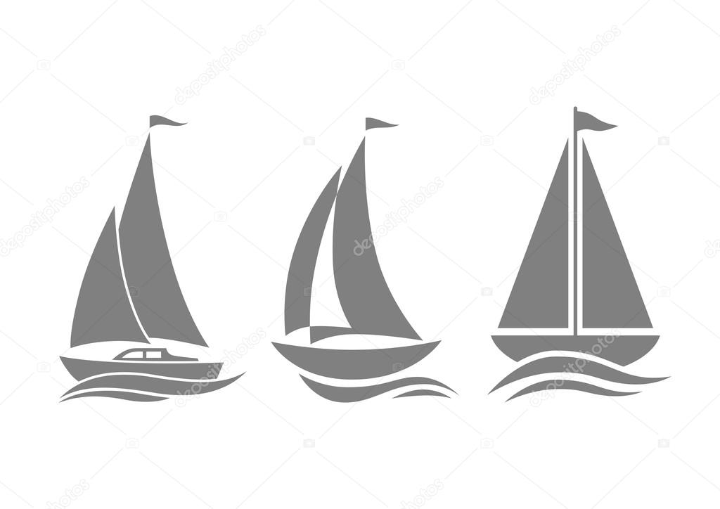 Grey sailboat icons on white background