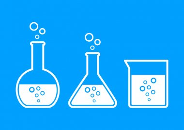 Laboratory glass icons on blue background