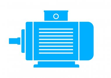 Blue electric motor on white background