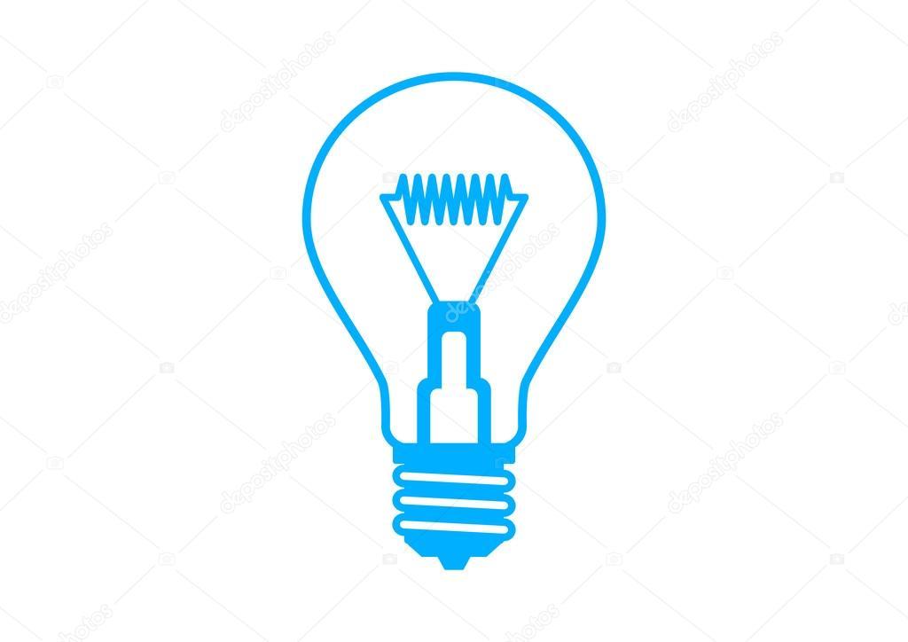 Blaue Glühbirne Symbol auf weißem Hintergrund — Stockvektor ...