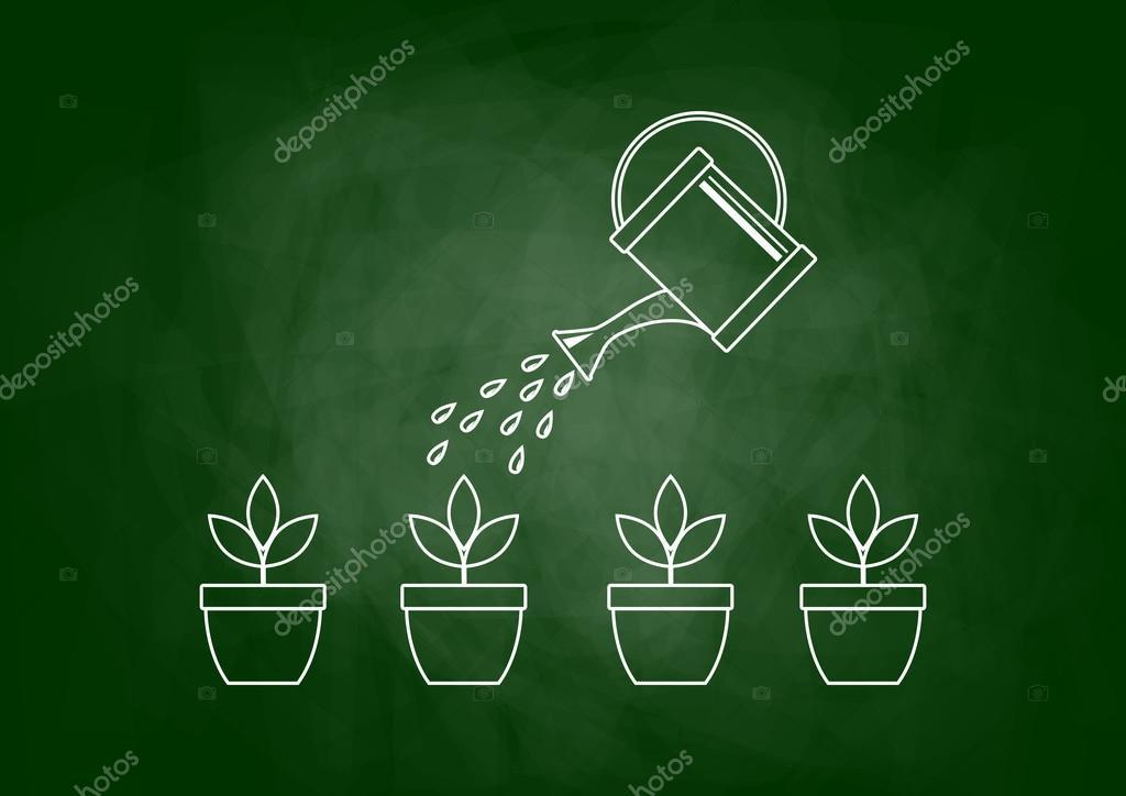 Dessin De Plantes Sur Tableau Noir Image Vectorielle