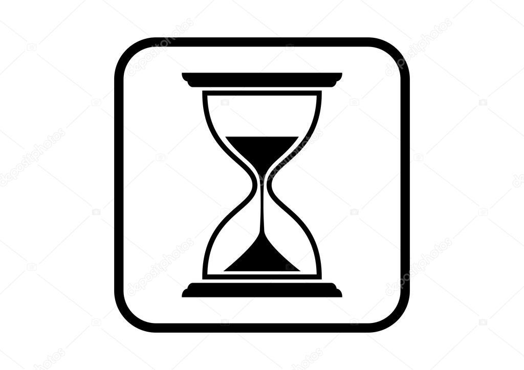Icono De Reloj De Arena En Fondo Blanco Archivo Imágenes