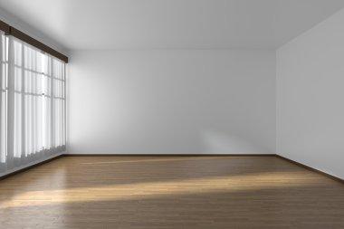 "Картина, постер, плакат, фотообои ""White empty room with flat walls, parquet floor and window, 3D i"", артикул 66533167"