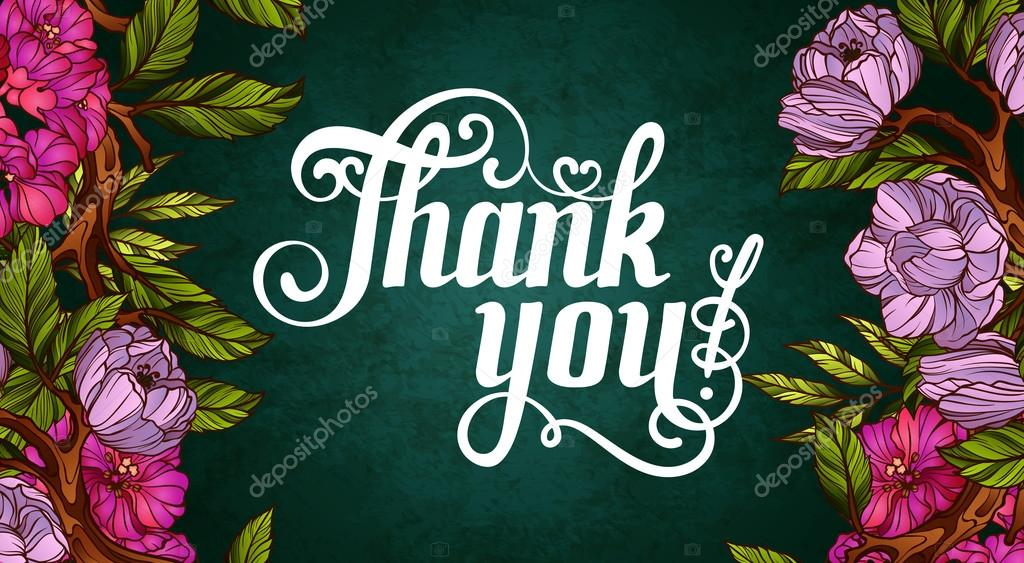 thank you lettering decorated with flowers poster template stock