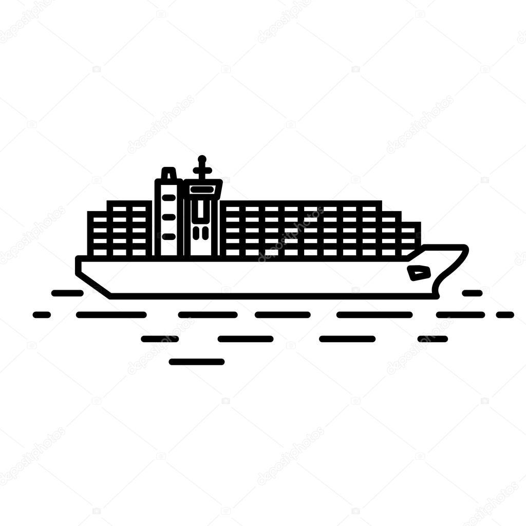 flache lineare containerschiff abbildung stockvektor. Black Bedroom Furniture Sets. Home Design Ideas