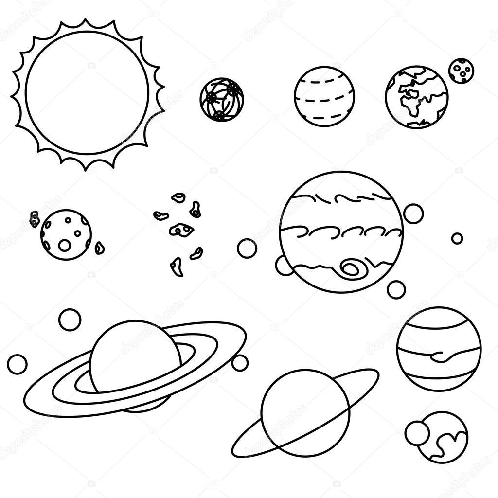 Flache Stilgruppe Sonnensystem Planeten — Stockvektor © BlackSpring1 ...