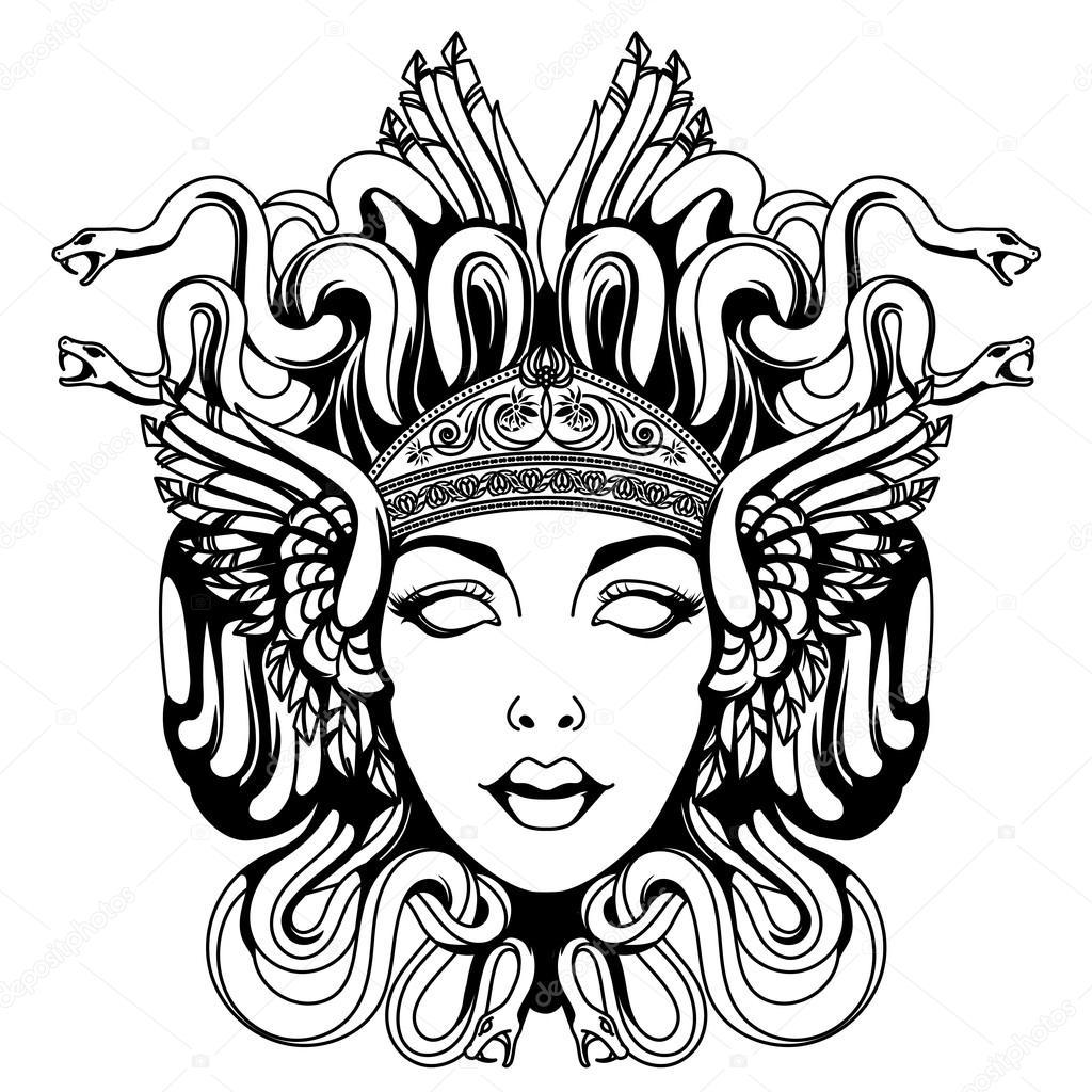 Ritratto di medusa gorgone vettoriali stock for Immagini vector