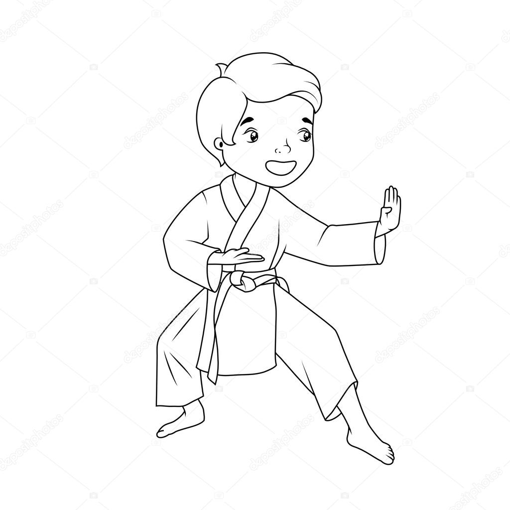 Coloring Book Little Boy Wearing Kimono Practicing Karate Stock