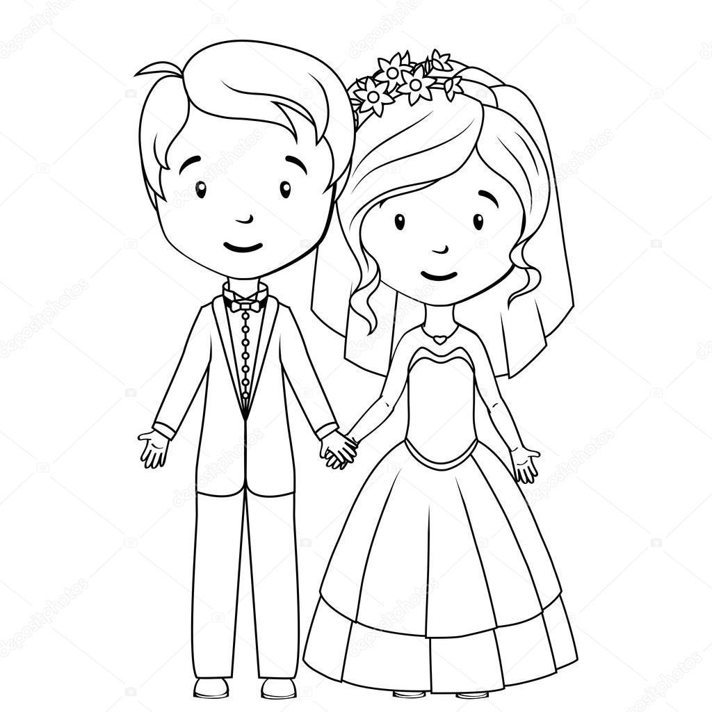 libro para colorear: dibujos animados de novio y novia — Vector de ...
