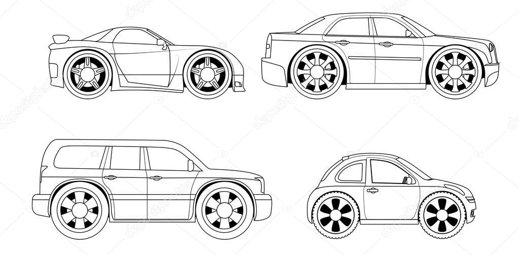 livro de colorir estilizado conjunto de carros vetor de stock
