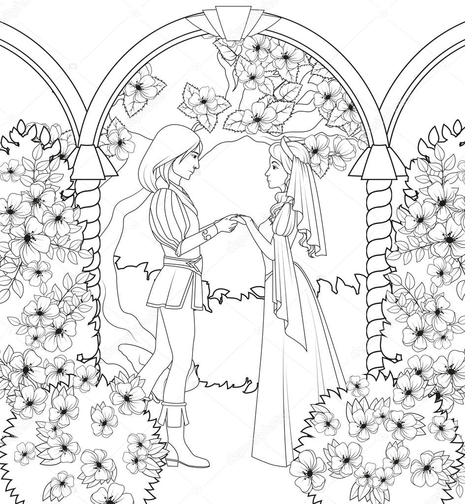 Coloring book: medieval couple holding hands — Stock Vector ...