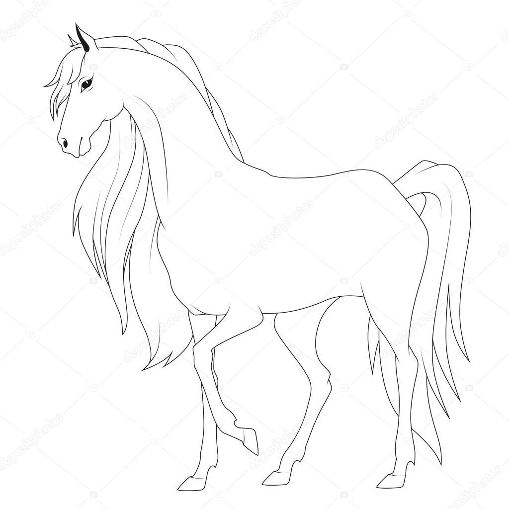 Libro de colorear: caballo — Archivo Imágenes Vectoriales ...