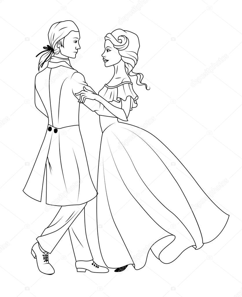 Depositphotos Stock Illustration Coloring Book Couple Dancing Waltz Photo Pencil Drawings