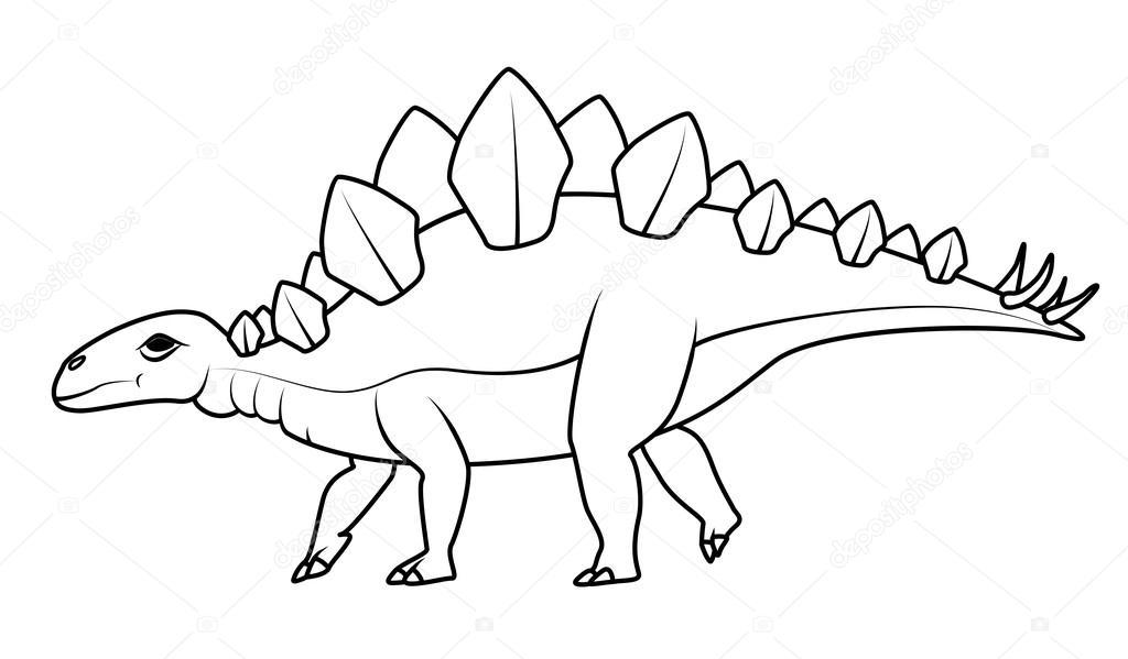 Libro para colorear: dinosaurios Stegosaurus — Archivo Imágenes ...
