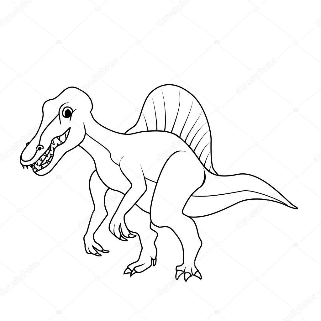 Libro de colorear: dinosaurio Spinosaurus — Vector de stock ...