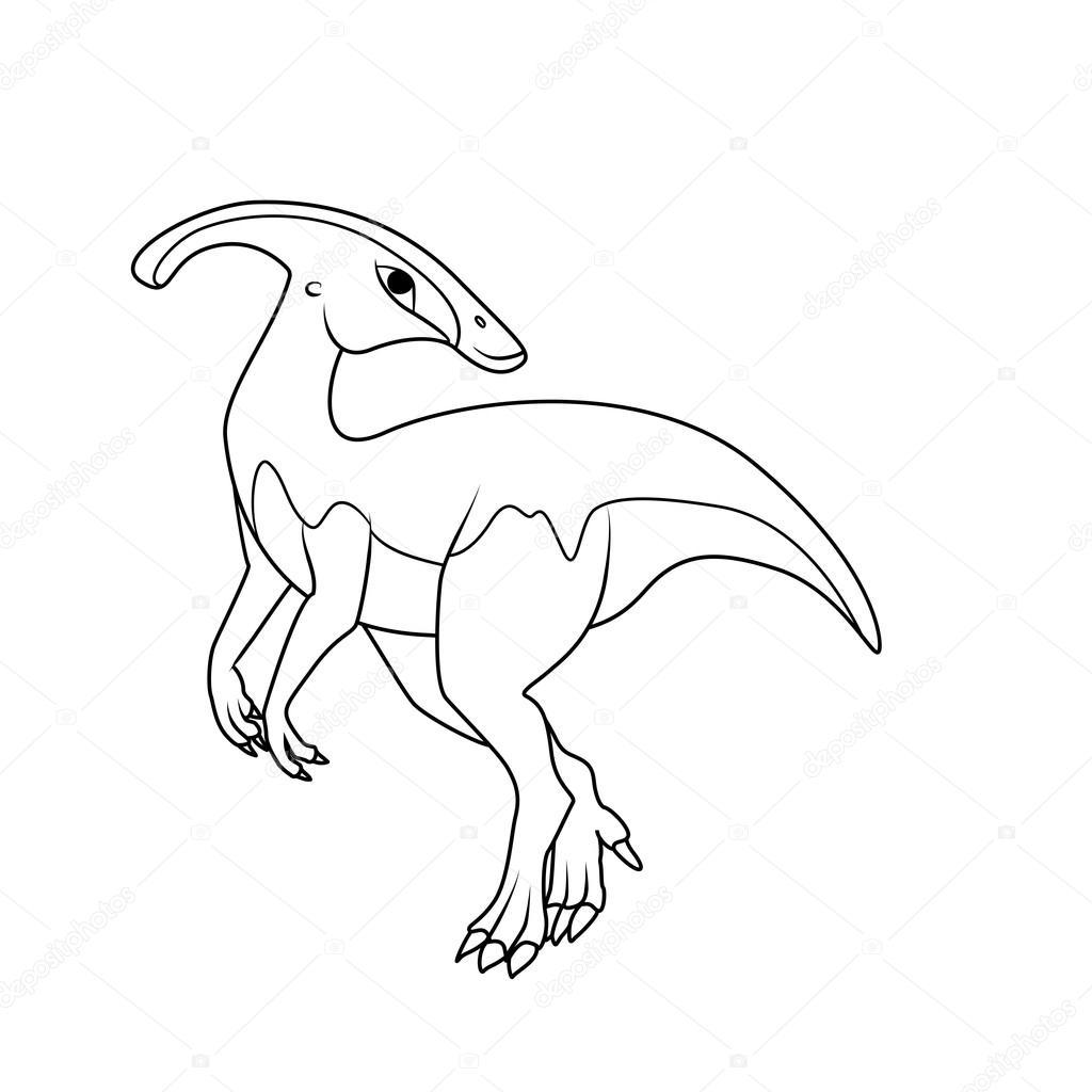 Libro para colorear: dinosaurios Parasaurolophus — Vector de stock ...
