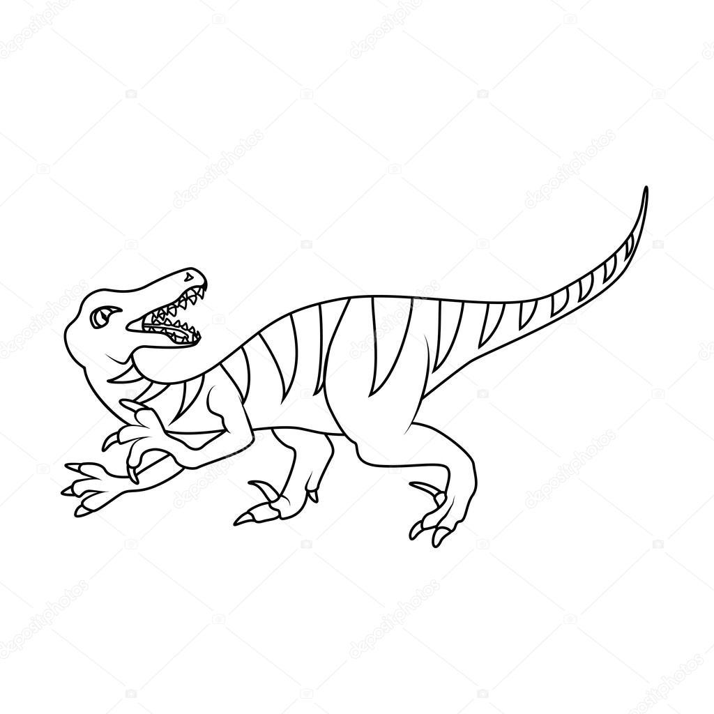 Coloring Book Velociraptor Dinosaur Stock Vector C Blackspring1