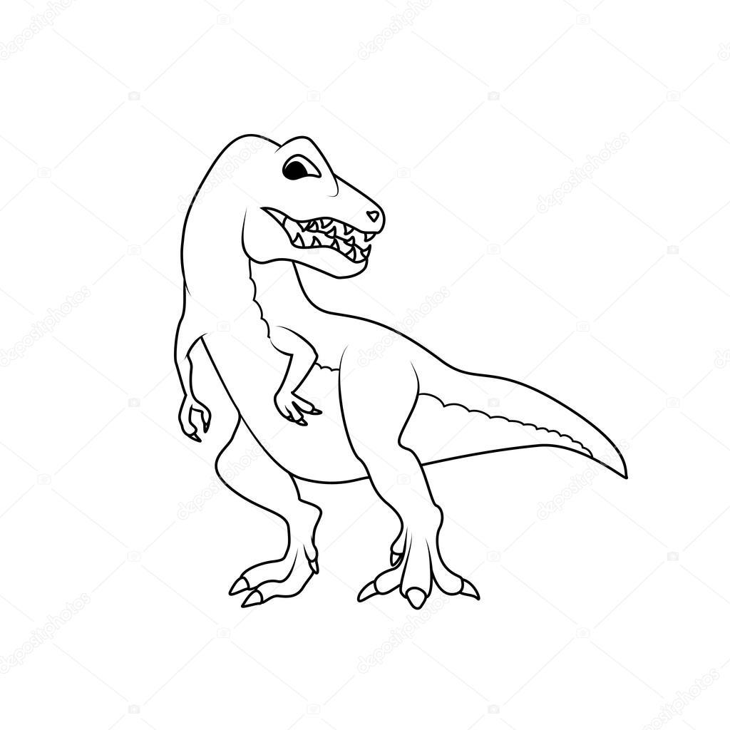 Boyama Kitabı Tyrannosarus Ya Da T Rex Dinozor Stok Vektör