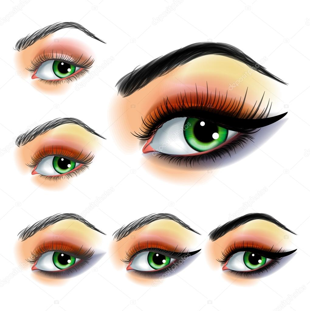 Eye Shadow Make Up Step By Step Stock Vector Blackspring1 90171418