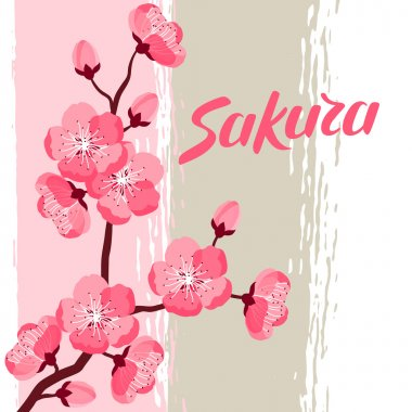 Japanese sakura background with stylized flowers. Image for holiday invitations, greeting cards, posters