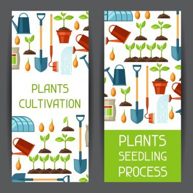 Banners with agriculture objects. Instruments for cultivation, plants seedling process, stage plant growth, fertilizers and greenhouse