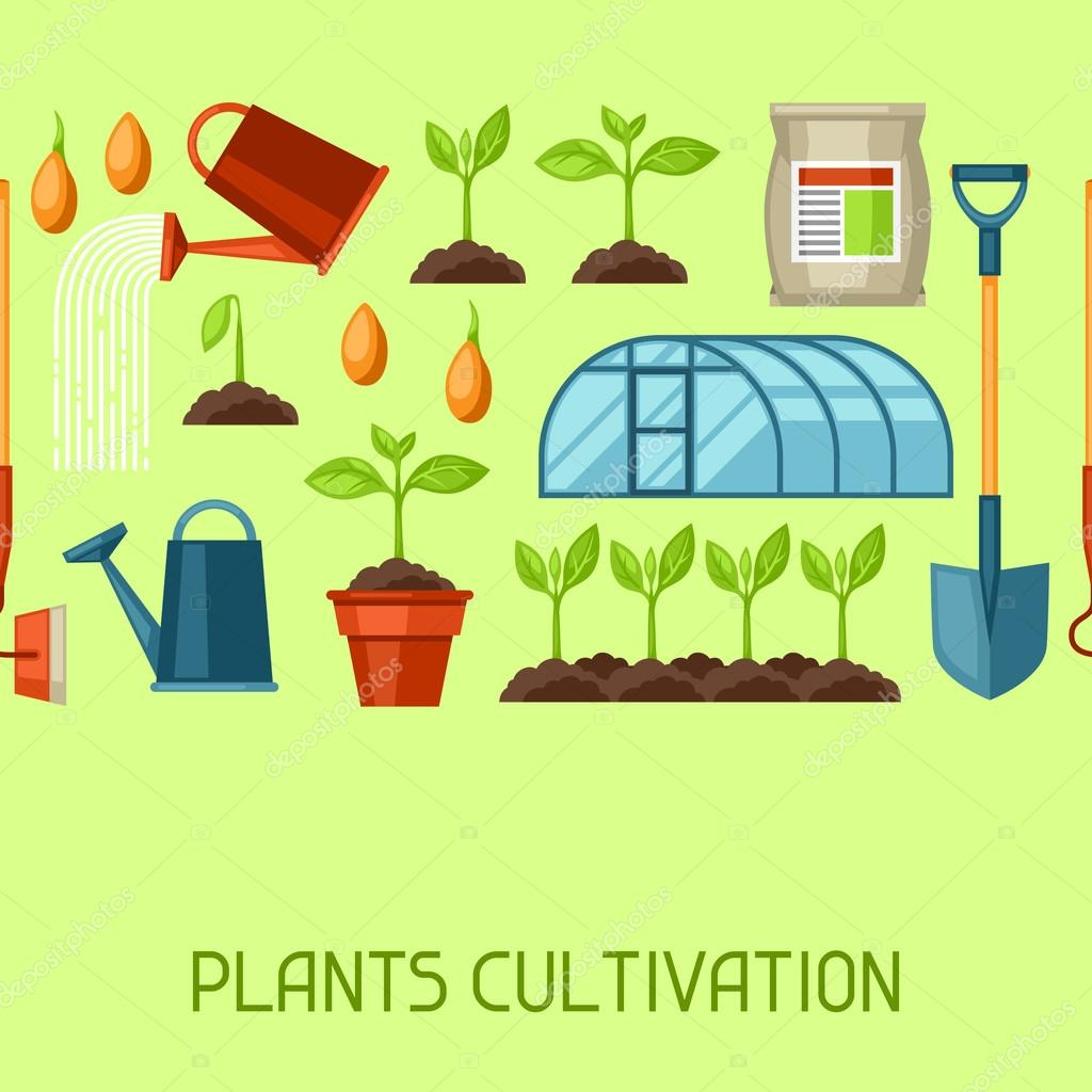 Seamless pattern with agriculture objects. Instruments for cultivation, plants seedling process, stage plant growth, fertilizers and greenhouse