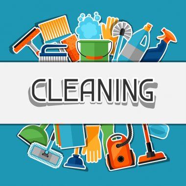 Housekeeping background with cleaning sticker icons. Image can be used on advertising booklets, banners, flayers, article, social media