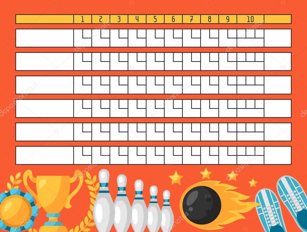 image relating to Printable Bowling Score Sheet named Clipart: blank scoreboard template Bowling ranking sheet