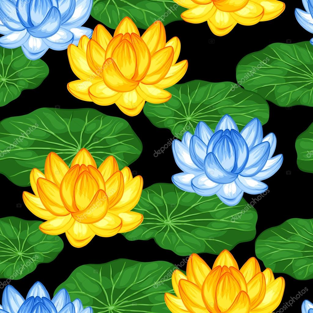 Natural seamless pattern with lotus flowers and leaves. Background made without clipping mask. Easy to use for backdrop, textile, wrapping paper