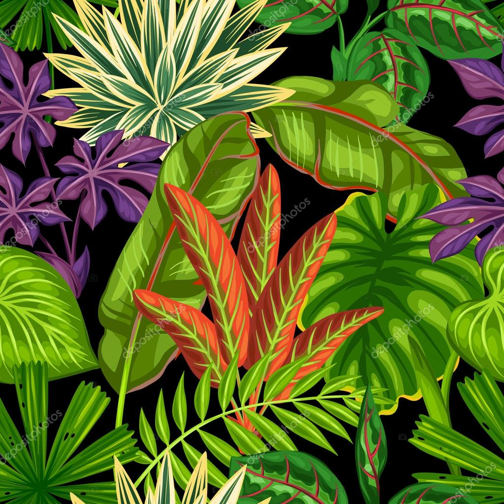 Seamless pattern with tropical plants and leaves. Background made without clipping mask. Easy to use for backdrop, textile, wrapping paper