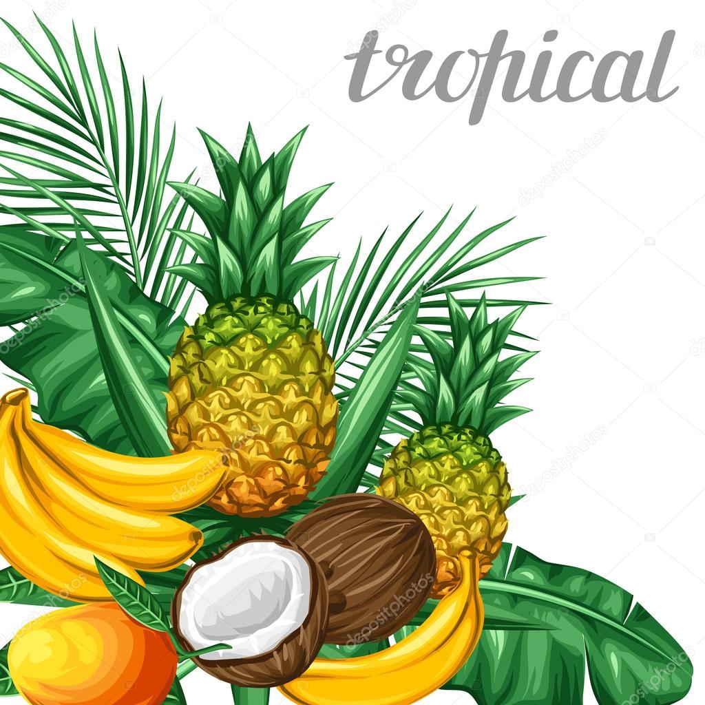 Background with tropical fruits and leaves. Design for advertising booklets, labels, packaging, menu