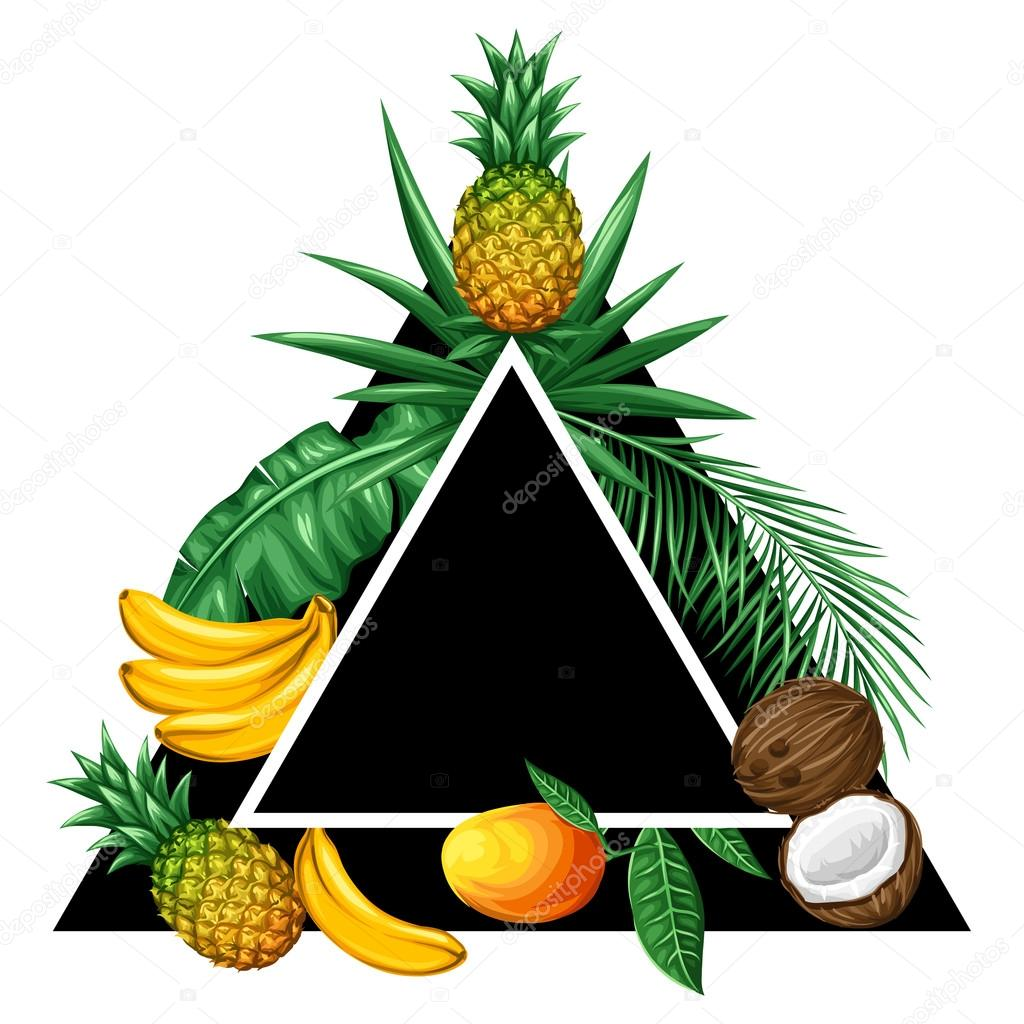 Background with tropical fruits and leaves. Design for advertising booklets, labels, packaging, textile printing