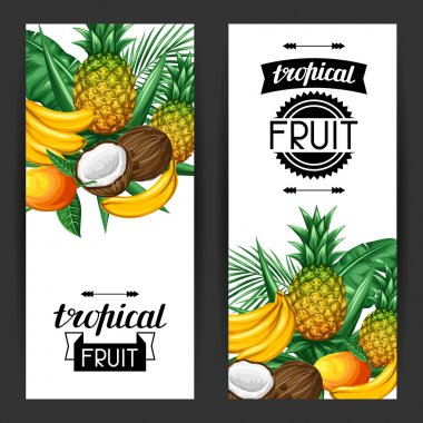 Banners with tropical fruits and leaves. Design for advertising booklets, labels, packaging, menu