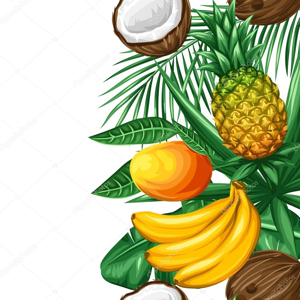 Seamless border with tropical fruits and leaves. Background made without clipping mask. Easy to use for backdrop, textile, wrapping paper