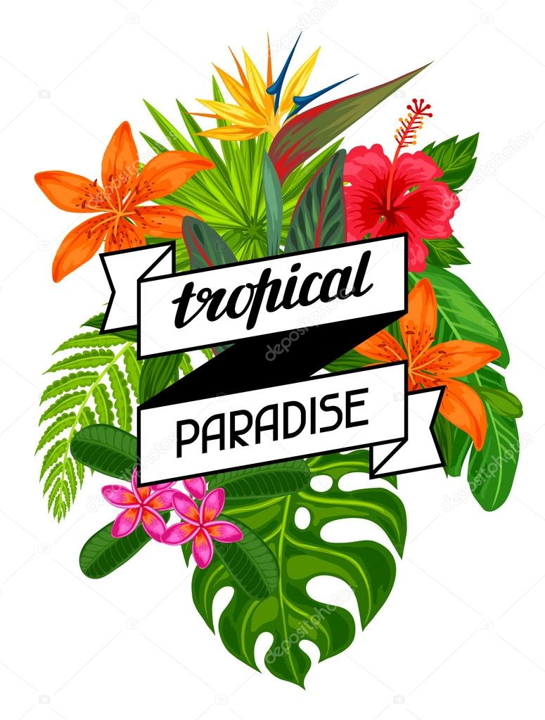 Tropical paradise card with stylized leaves and flowers. Image for advertising booklets, banners, flayers